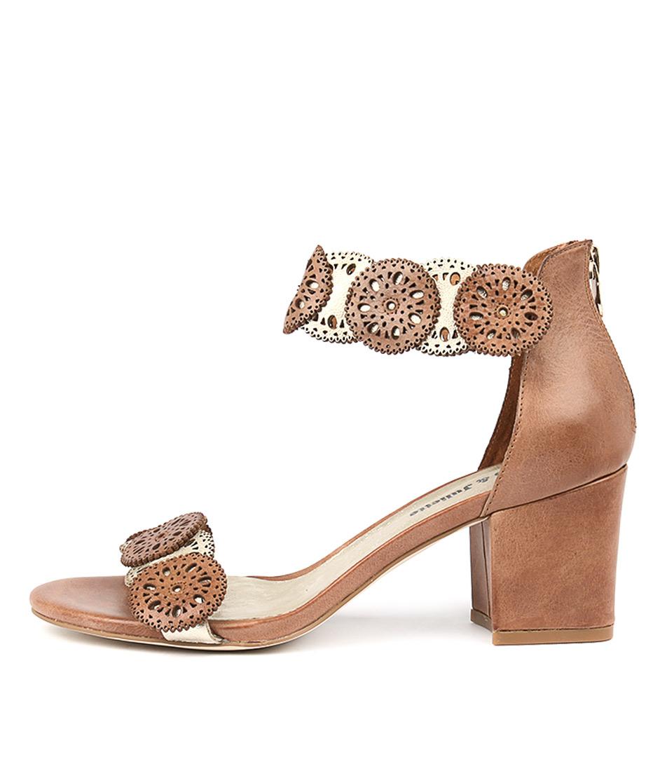 Django & Juliette Legra Tan Pale Gold Heeled Sandals