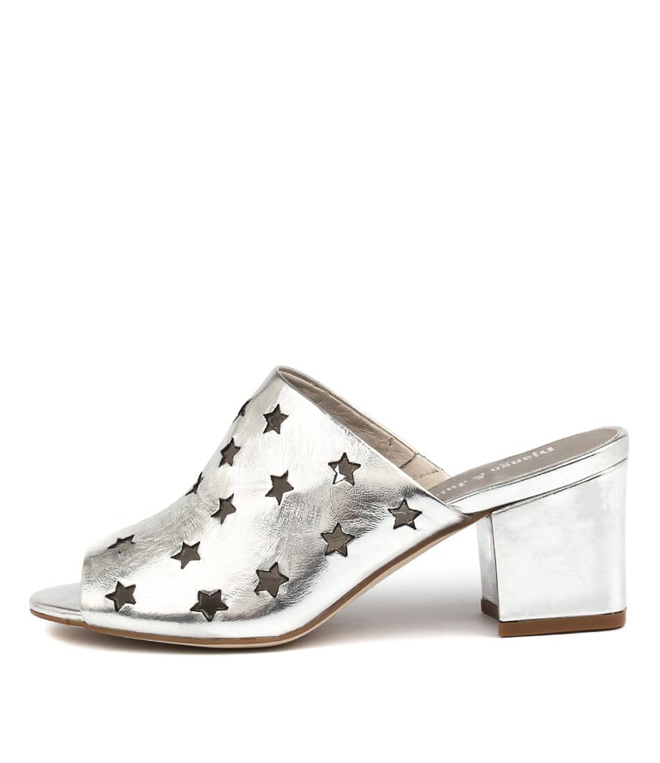 Django & Juliette Levis Silver Casual Heeled Sandals