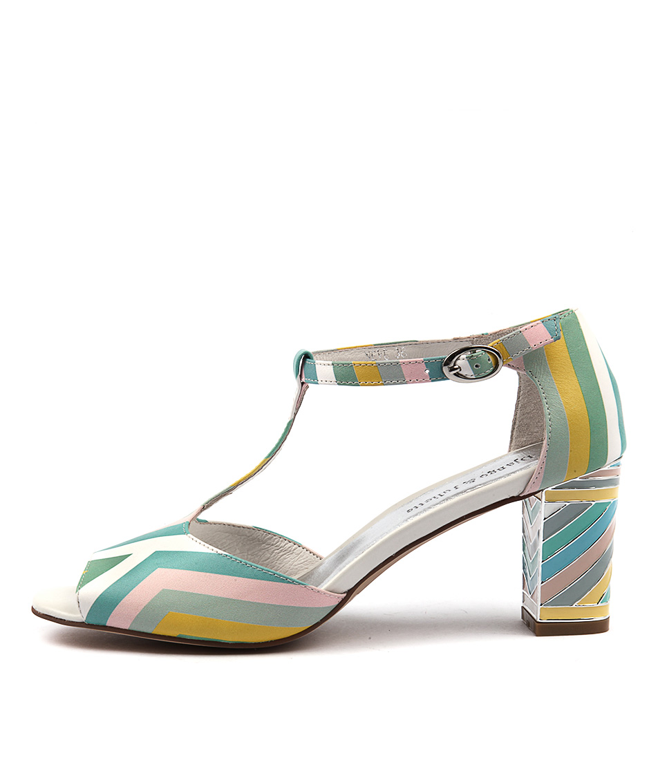 Django & Juliette Neve Pastel Multi Dress Heeled Sandals