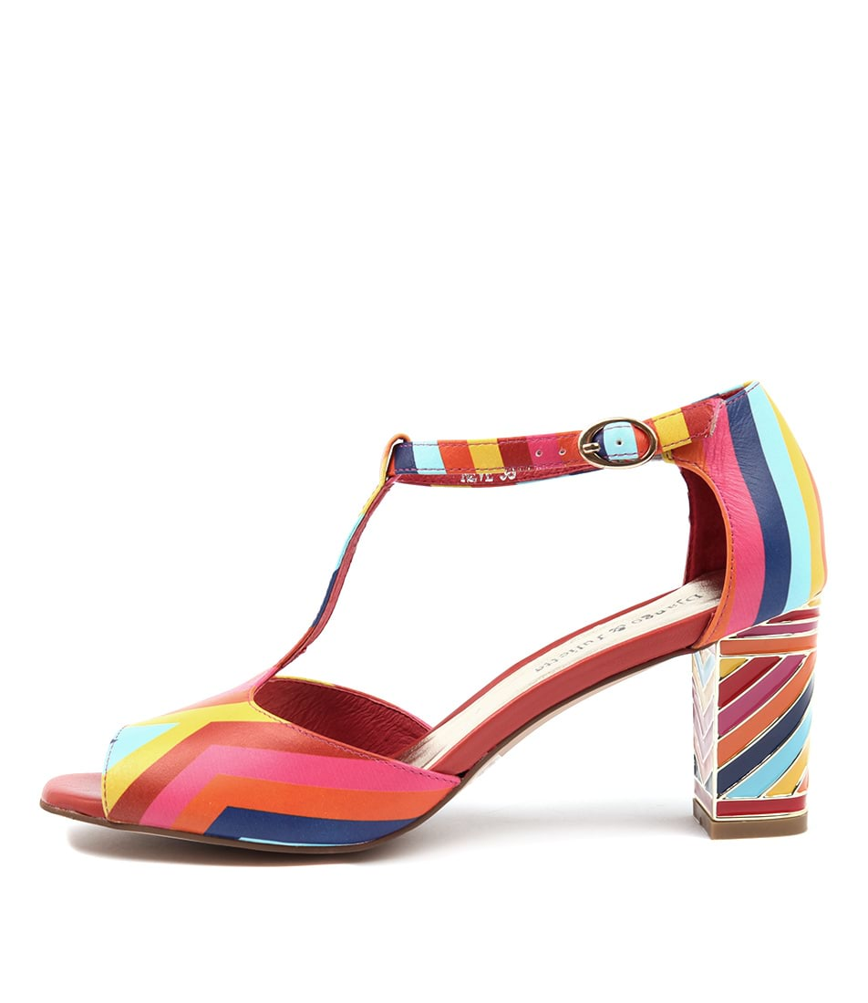 Django & Juliette Neve Bright Multi Heeled Sandals