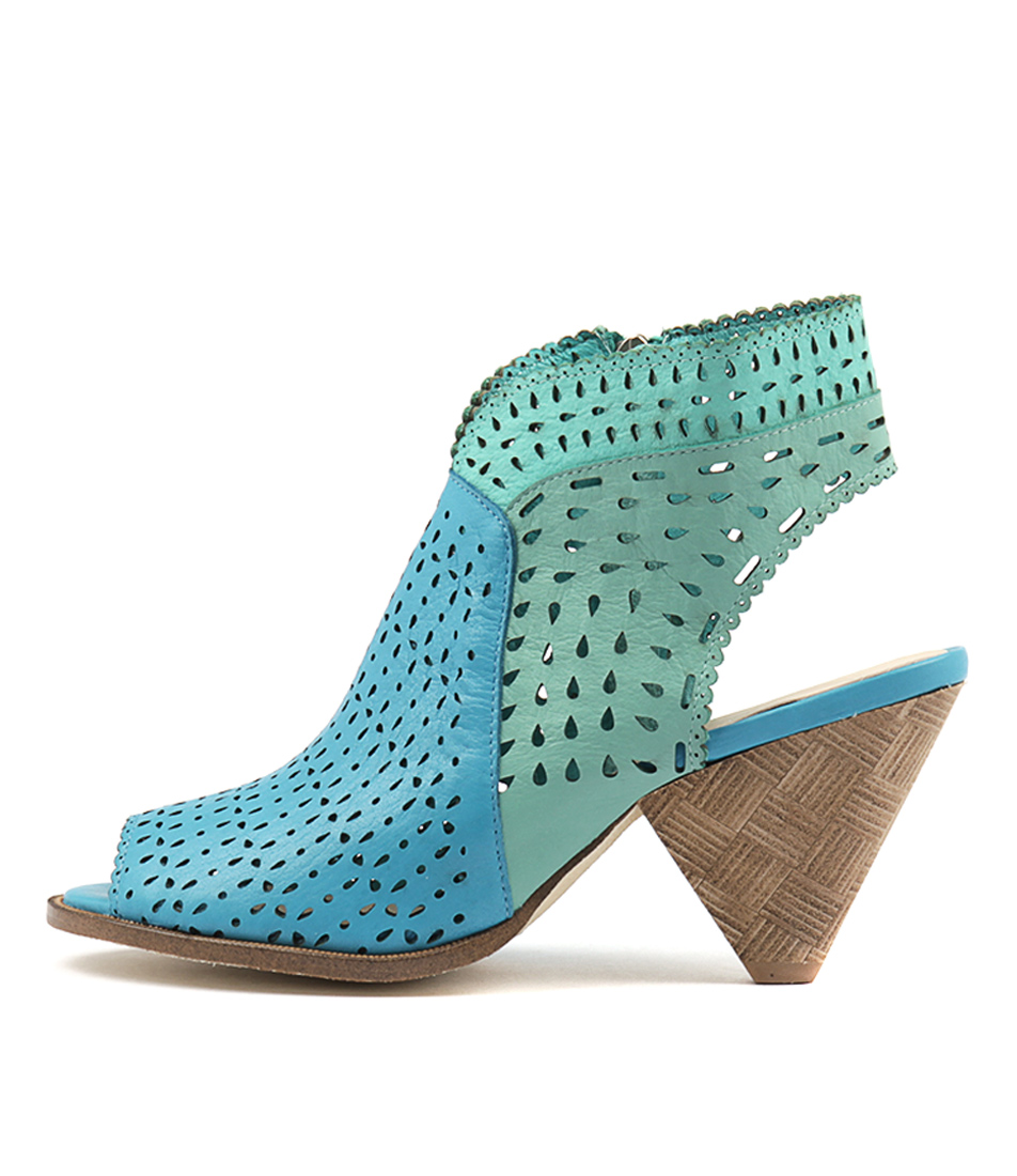 Django & Juliette Ofive Aqua Mint Sea F Heeled Sandals