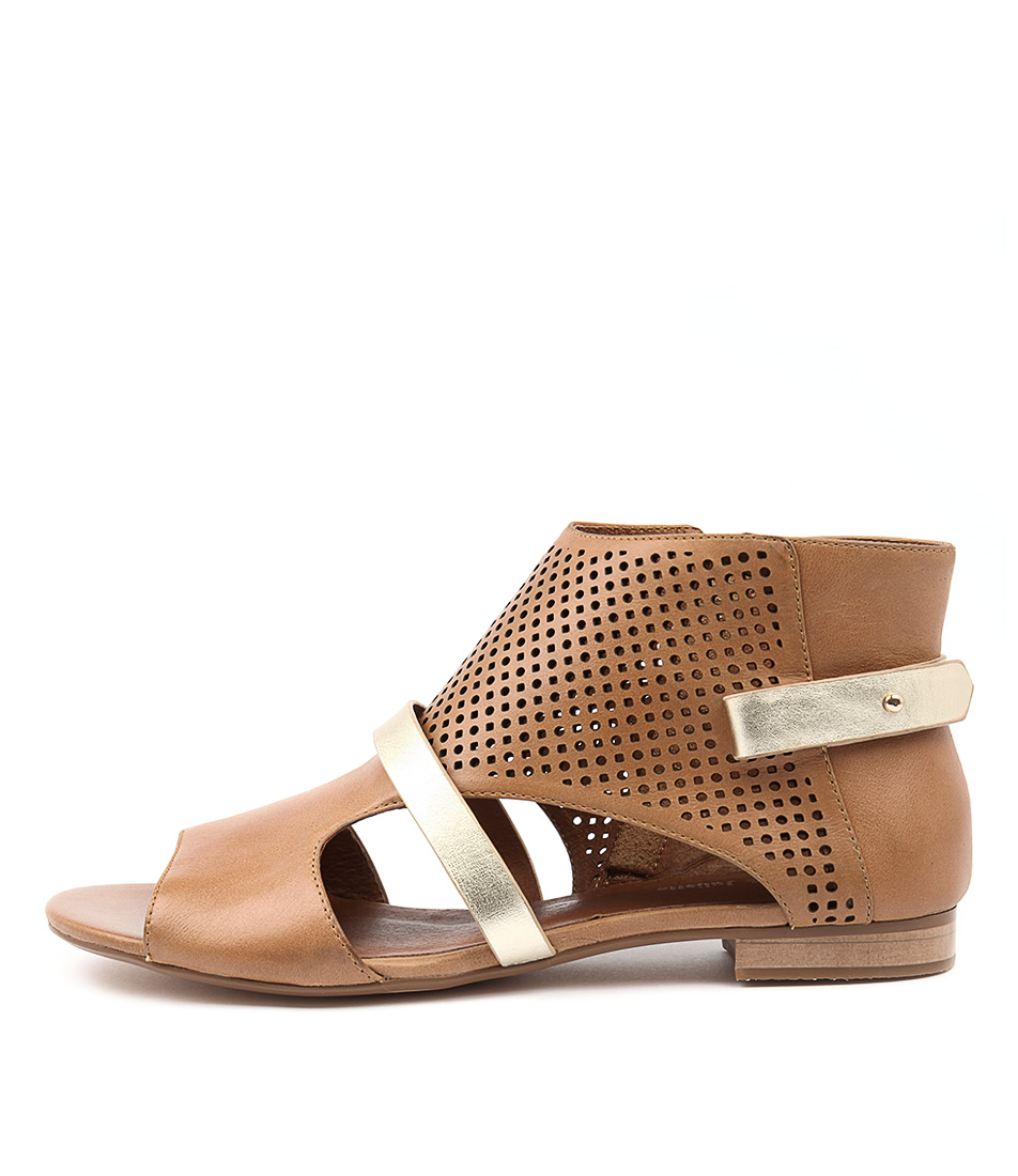 Django & Juliette Parishna Tan Gold Sandals