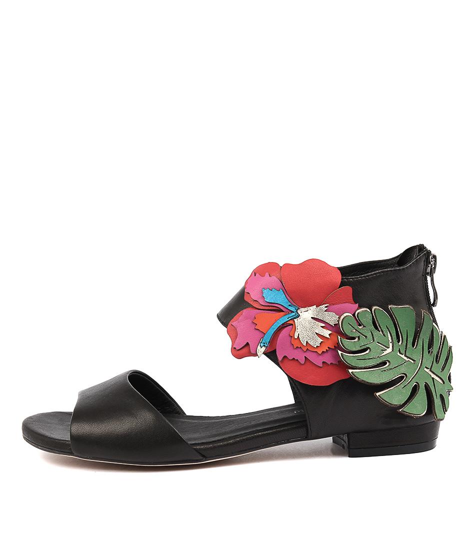 Django & Juliette Quimpo Black Bright Mu Dress Flat Sandals