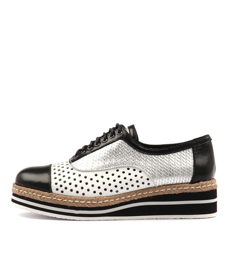 Django & Juliette Tiara Black White Flat Shoes