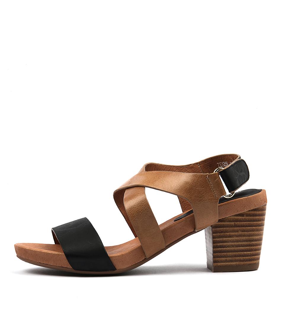 Django & Juliette Zendy Black Tan Casual Heeled Sandals