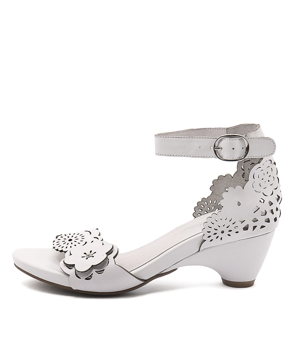Django & Juliette Zimpa White Casual Heeled Sandals