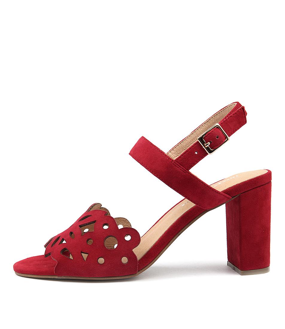 Django & Juliette Thistle Red Casual Heeled Sandals