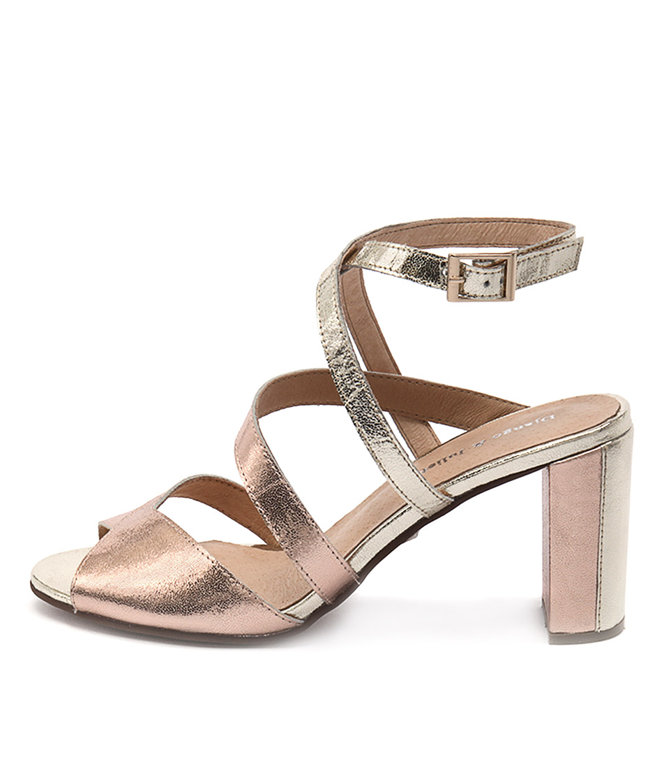 Django & Juliette Ticker Rose Gold Gold Heeled Sandals