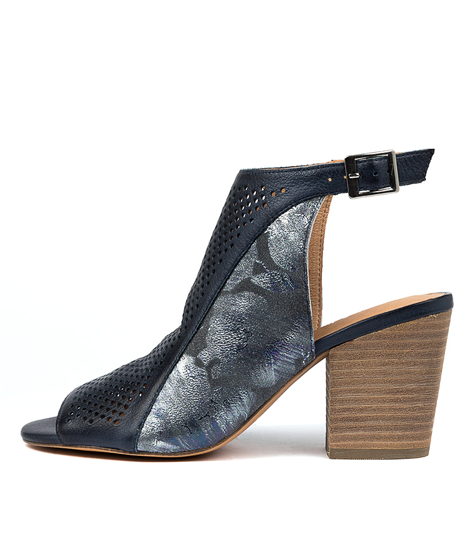 Buy Django & Juliette Walise Navy Navy Metallic Heeled Sandals online with free shipping