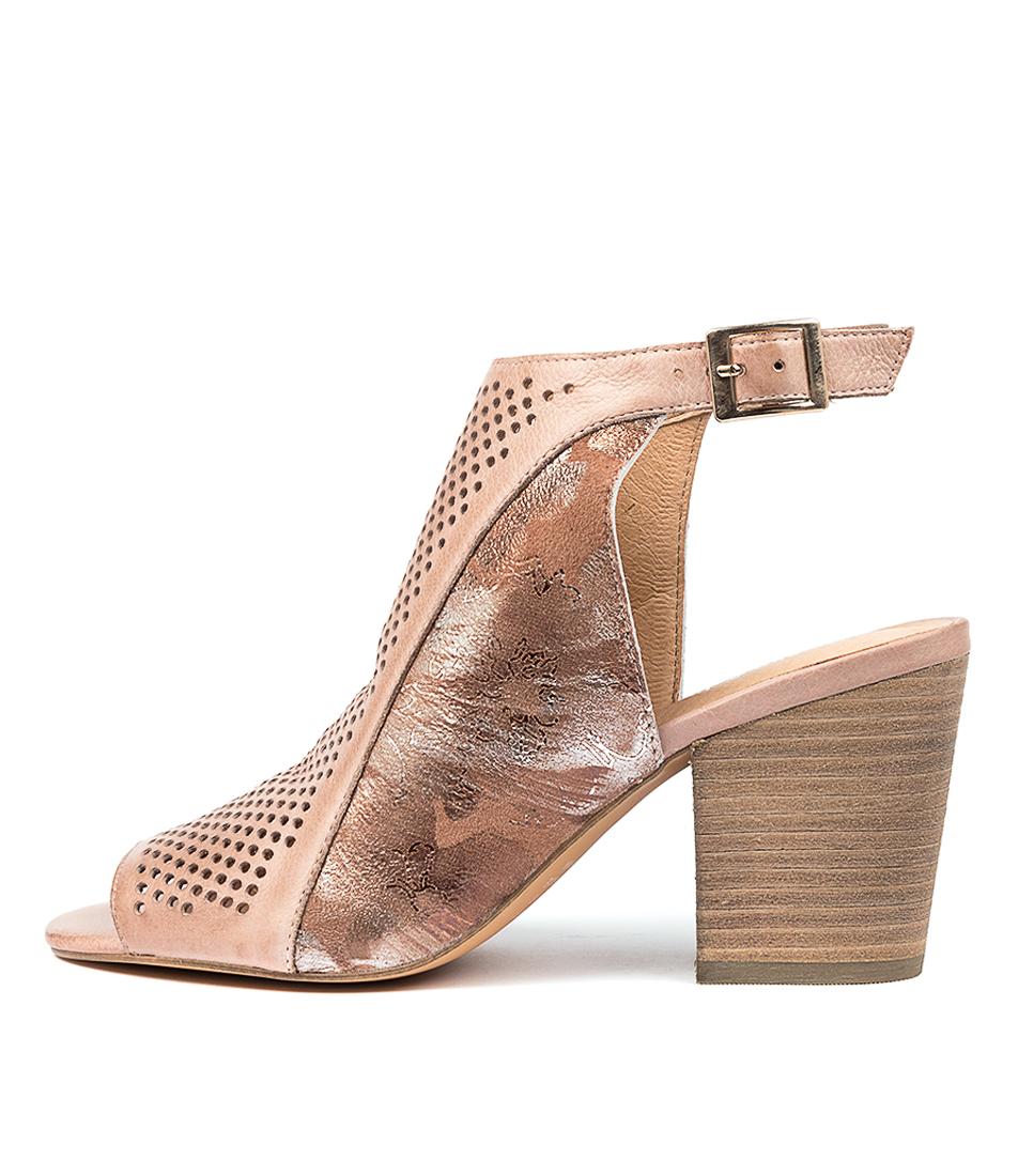 Buy Django & Juliette Walise Cafe Nude Metallic Heeled Sandals online with free shipping