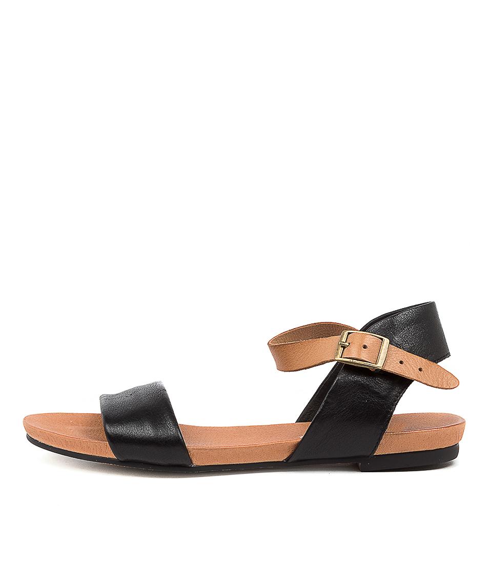 Buy Django & Juliette Jinnit Lrg Black Tan Flat Sandals online with free shipping
