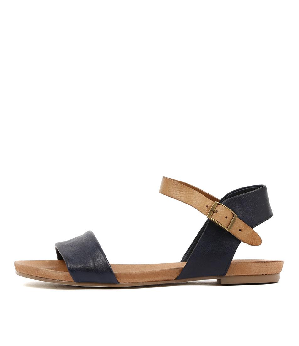 Buy Django & Juliette Jinnit Lrg Navy Tan Flat Sandals online with free shipping