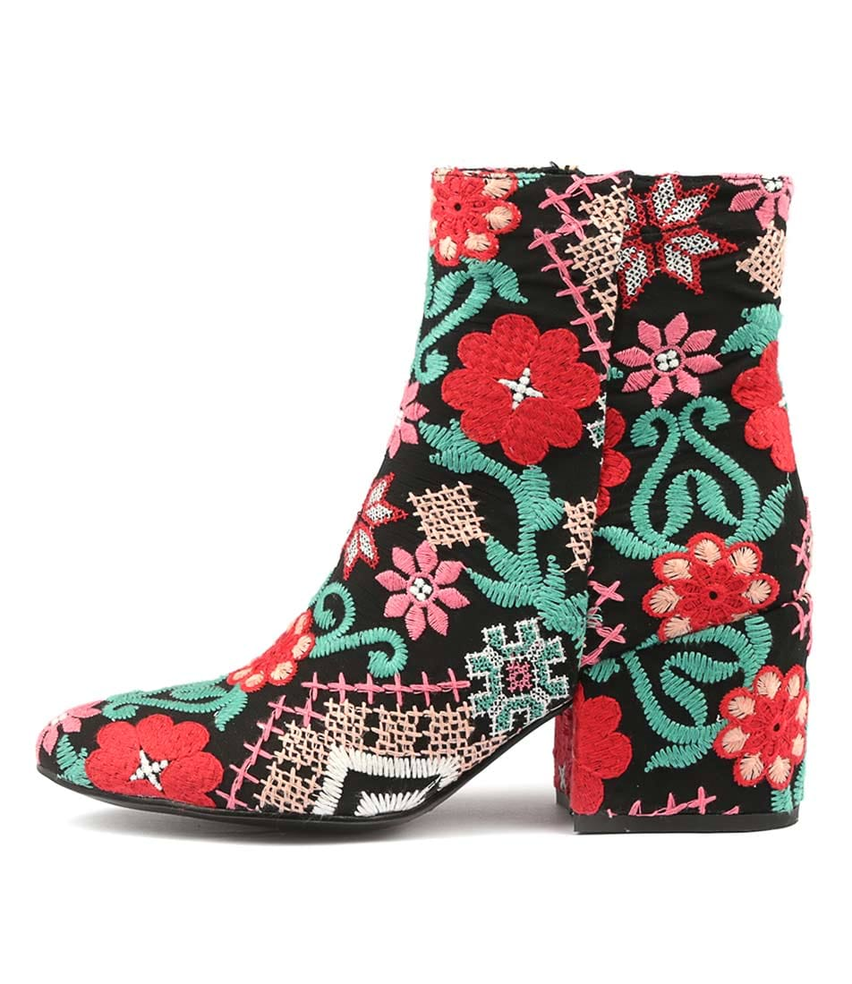 Photo of Django & Juliette Boskie Red Multi Ankle Boots, shop Django & Juliette shoes online