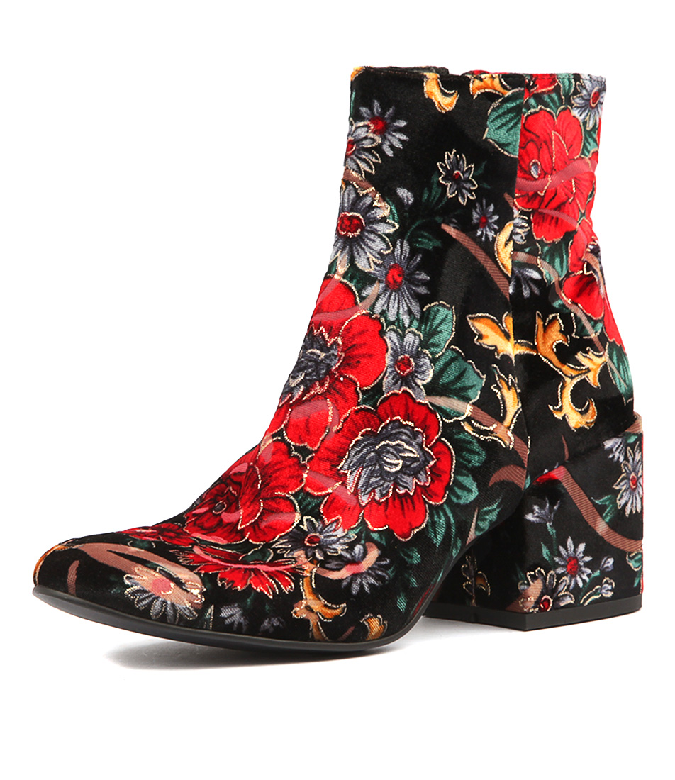 Django & Juliette Boskras Black & Red Flora Ankle Boots