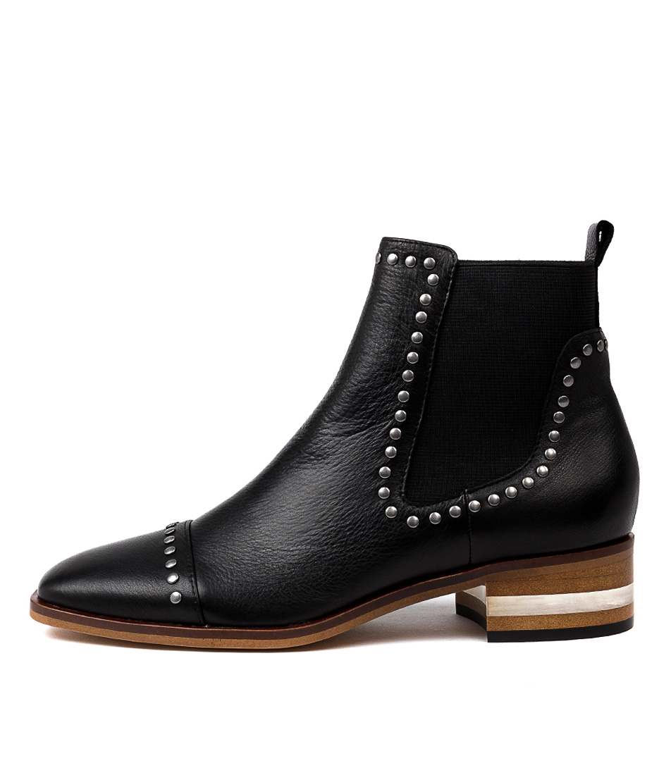 Buy Django & Juliette Ferras Black Natural Heel Ankle Boots online with free shipping