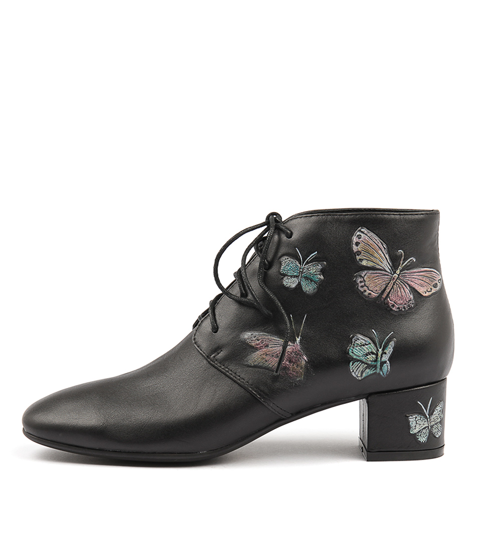 Django & Juliette Jumeos Black Butterfly Ankle Boots