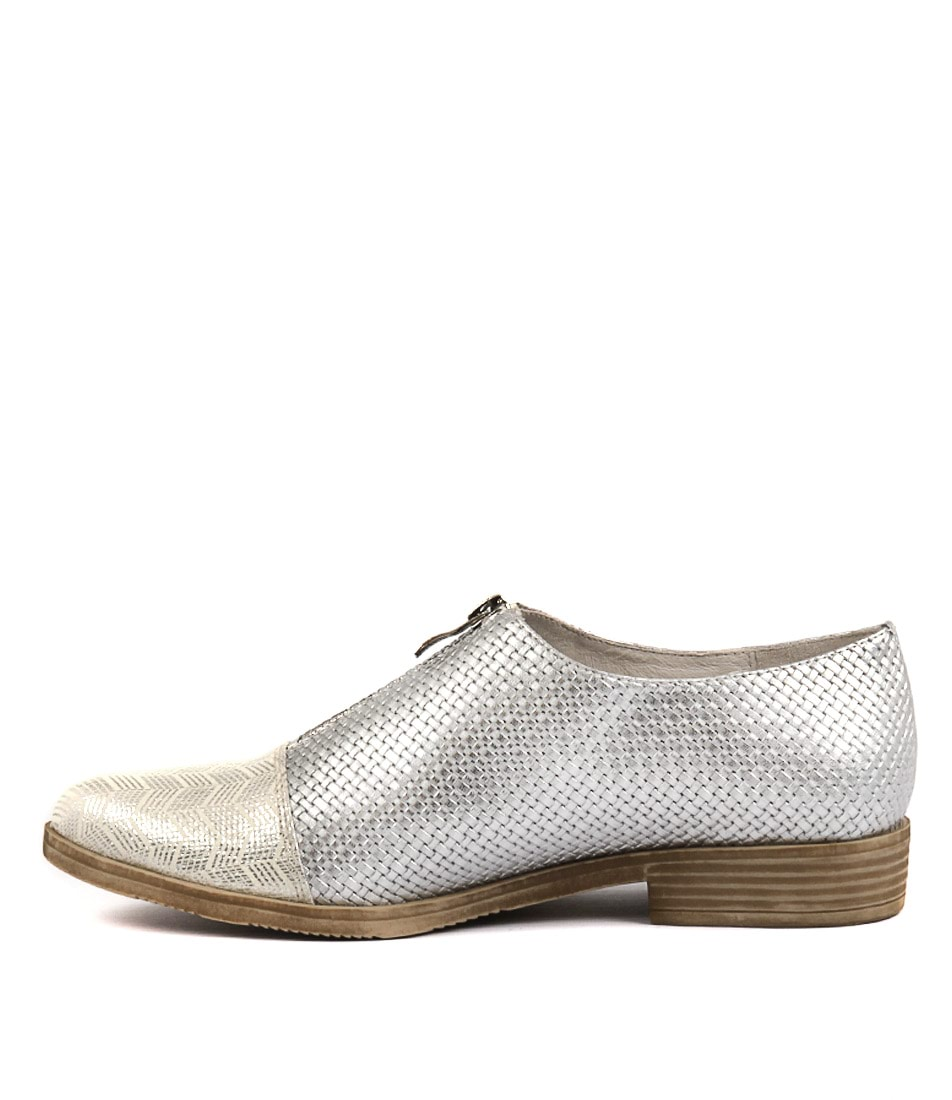 Photo of Django & Juliette Kasaroles White & Silver Si Flats, shop Django & Juliette shoes online