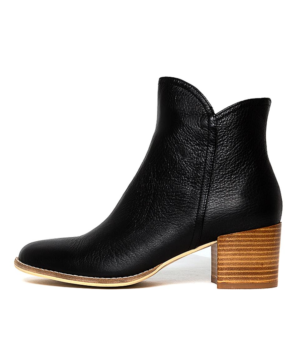 Buy Django & Juliette Mockas Black Natural Heel Ankle Boots online with free shipping