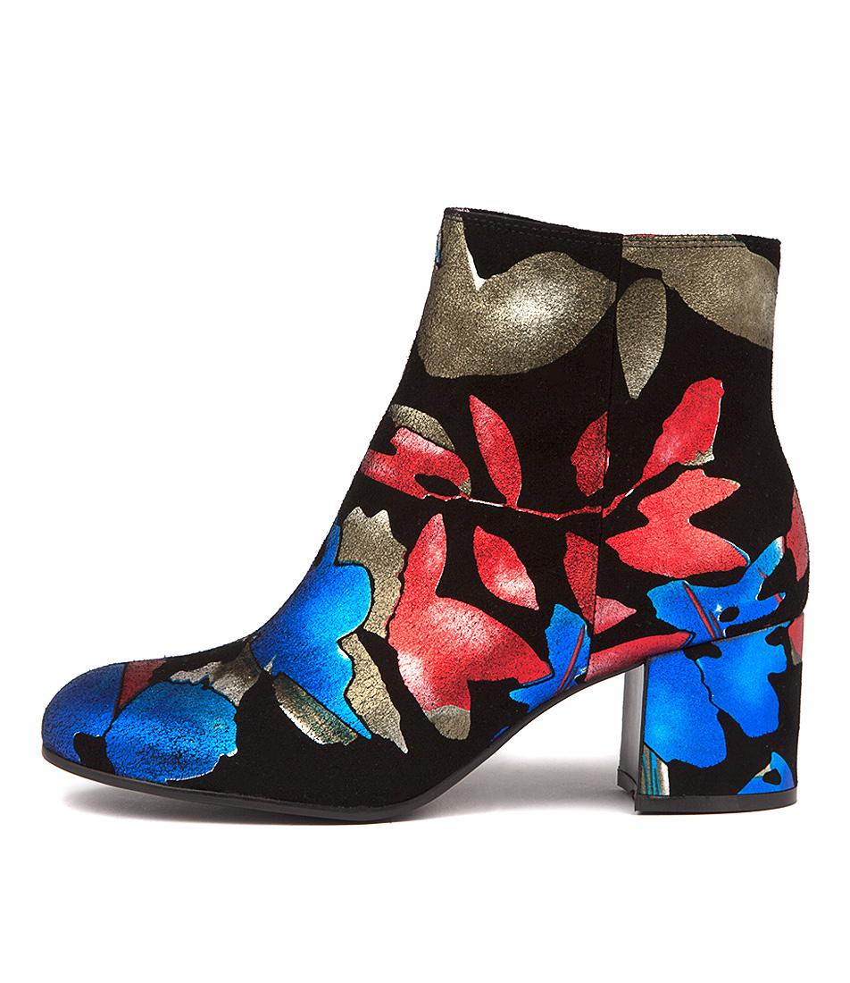 Django & Juliette Nululu Blue Floral Ankle Boots