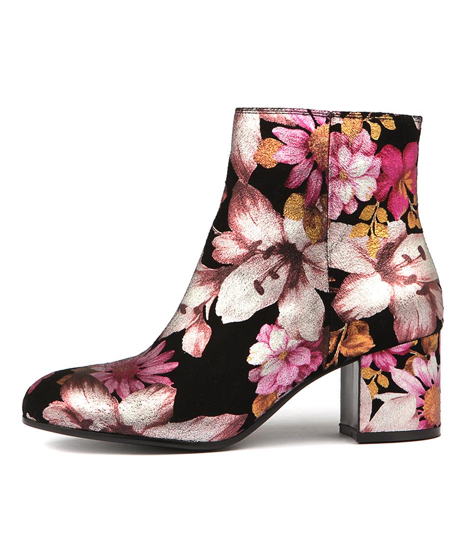 Django & Juliette Nululu Plum Floral Ankle Boots