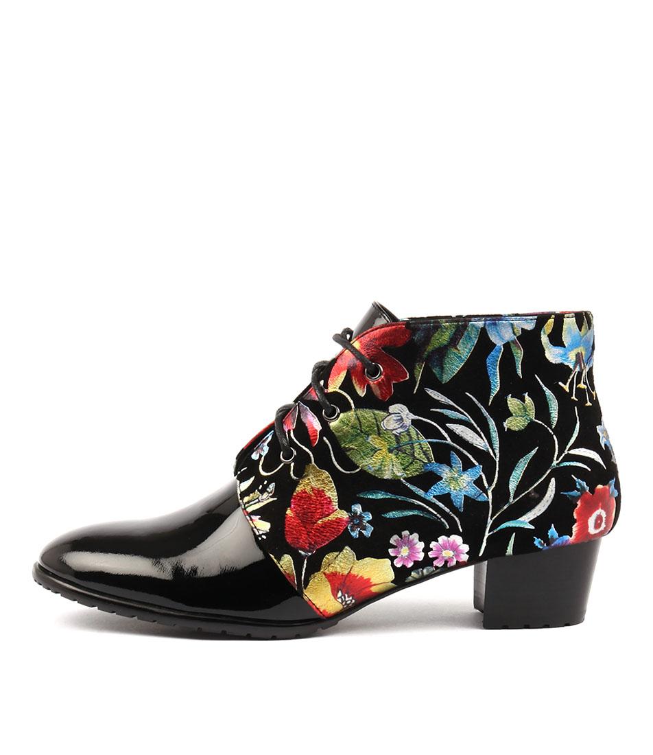 Django & Juliette Tankerm Black Bright Fl Ankle Boots