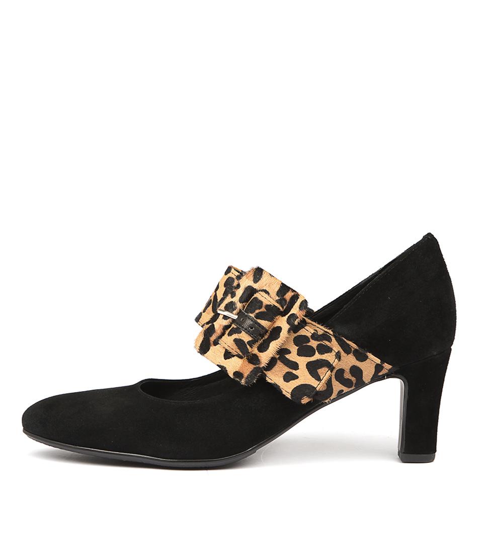 Django & Juliette Tracca Black Ocelot Heeled Shoes