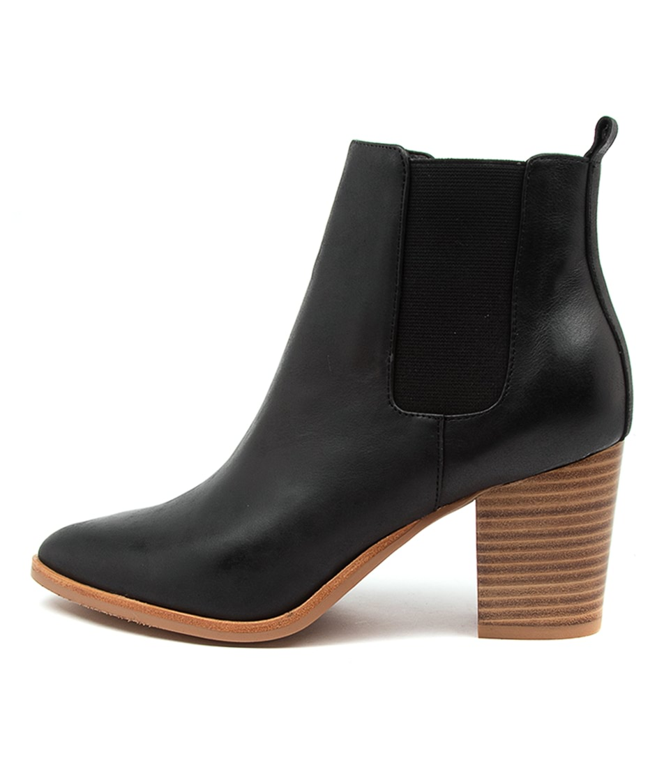 Buy Django & Juliette Tucson Black Natural Heel Ankle Boots online with free shipping