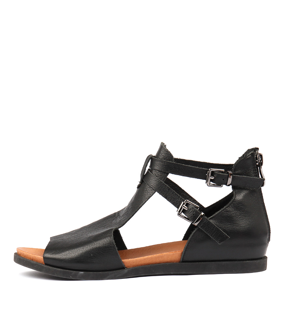 Buy Django & Juliette Chessie Black Flat Sandals online with free shipping