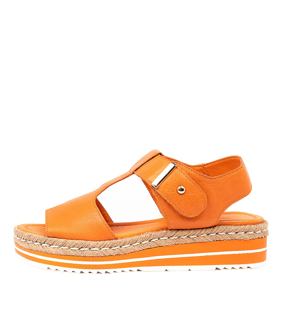 Buy Django & Juliette Ambers Bright Orange Flat Sandals online with free shipping