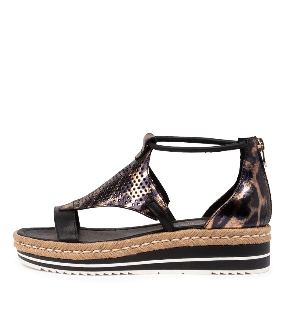 Buy Django & Juliette Angelic Black Ocelot Heeled Sandals online with free shipping