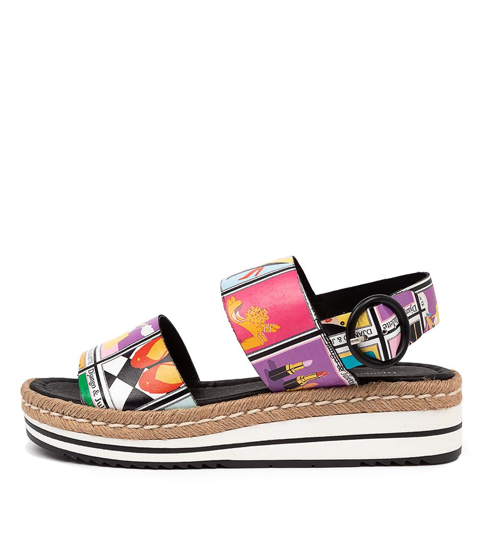 Buy Django & Juliette Atha Dj Print Flat Sandals online with free shipping