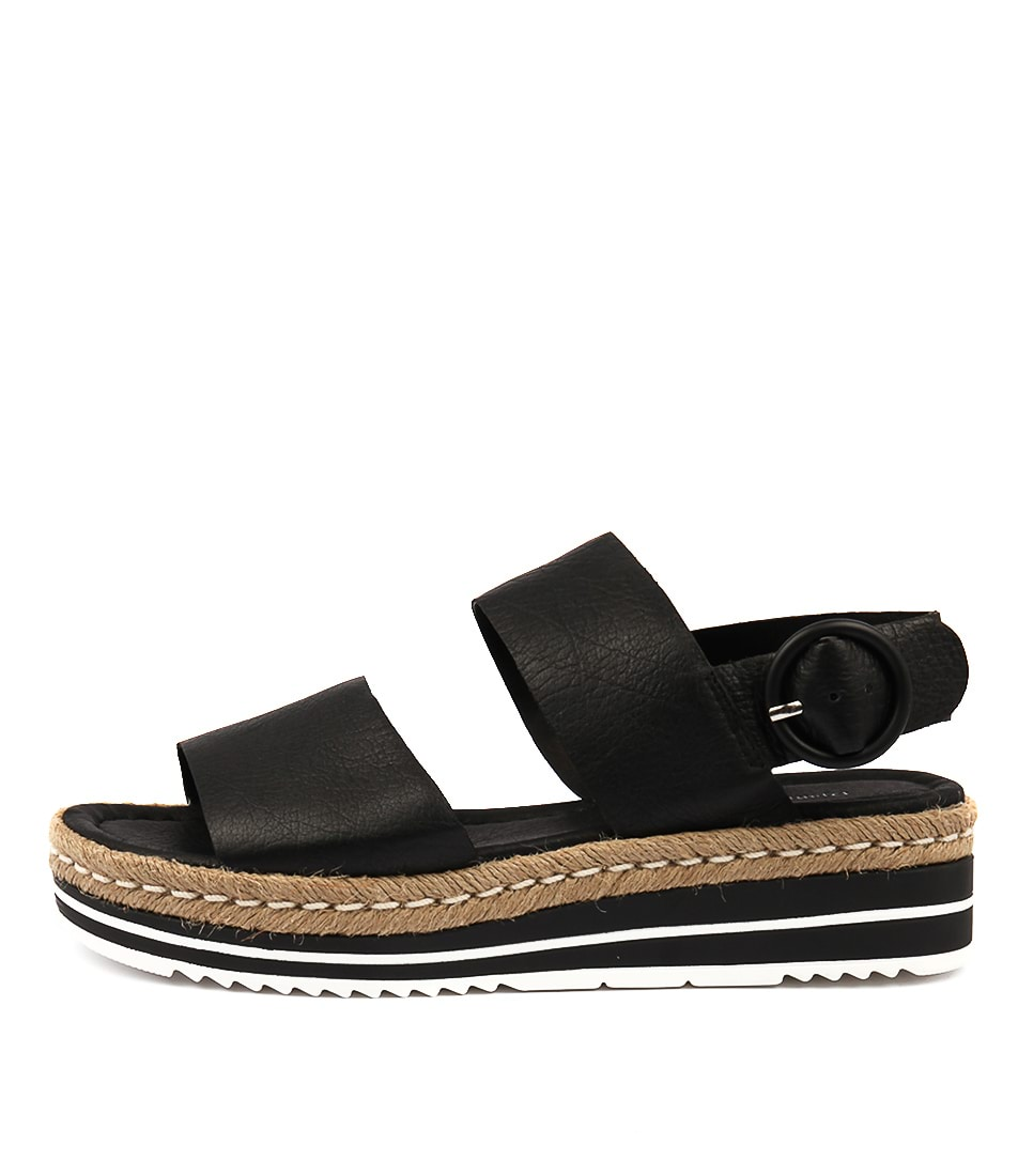 Buy Django & Juliette Atha Black Flat Sandals online with free shipping