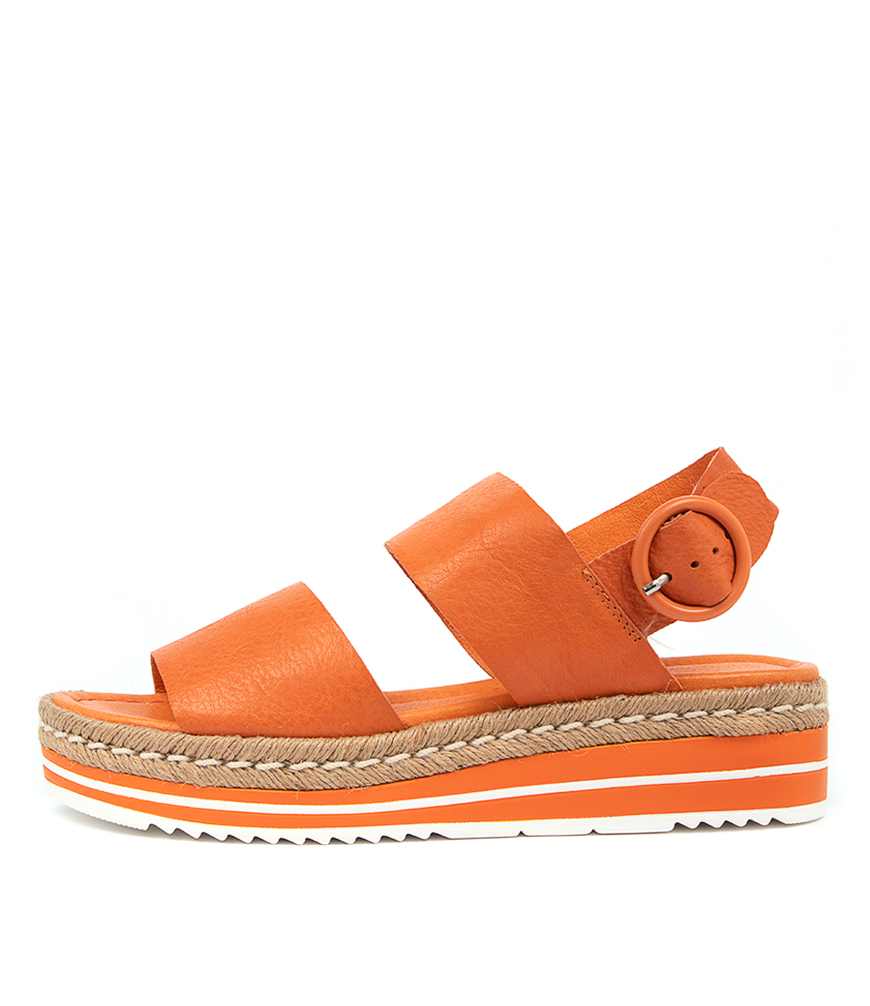 Buy Django & Juliette Atha Bright Orange Flat Sandals online with free shipping
