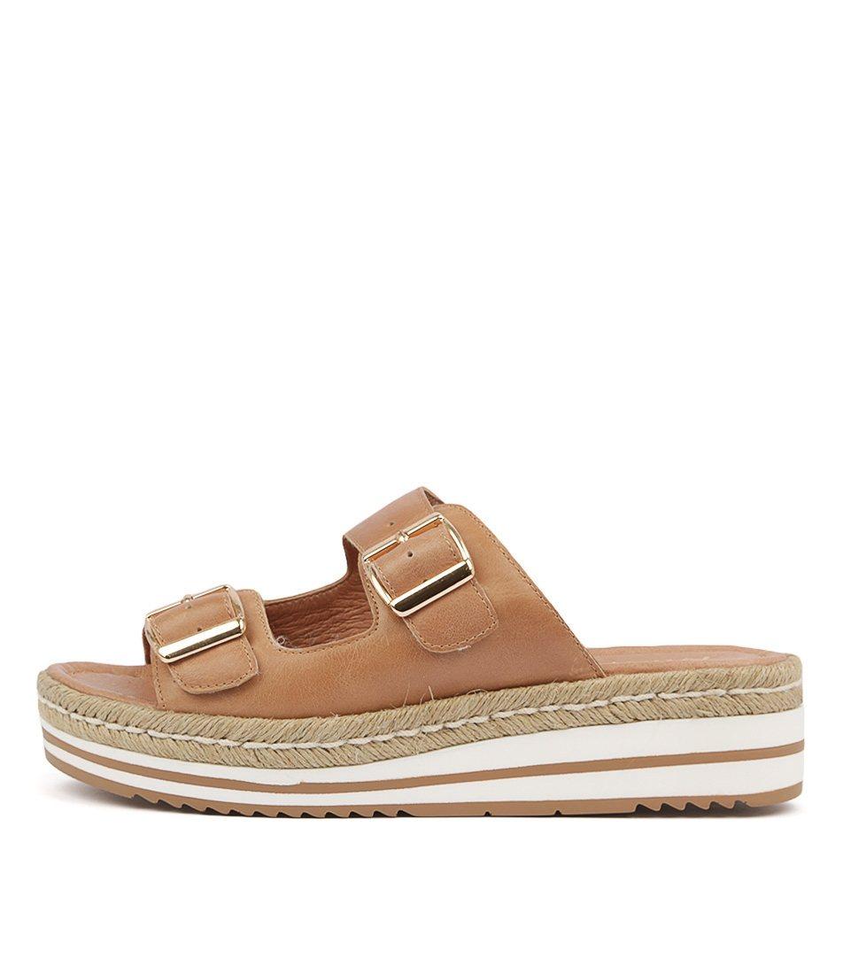 Buy Django & Juliette Axel Dk Tan Natural Flat Sandals online with free shipping