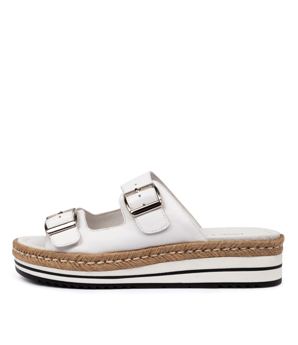 Buy Django & Juliette Axel White Natural Flat Sandals online with free shipping