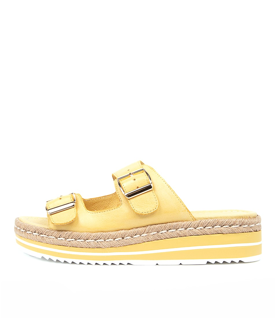 Buy Django & Juliette Axel Lt Yellow Natural Flat Sandals online with free shipping