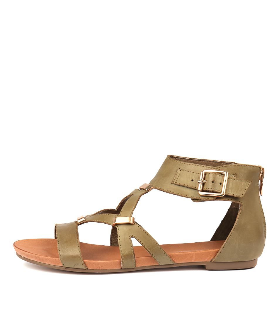 Buy Django & Juliette Jadiel Khaki Flat Sandals online with free shipping