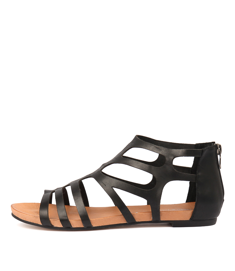 Buy Django & Juliette Jasent Black Flat Sandals online with free shipping