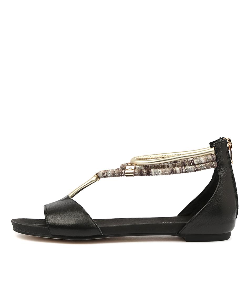Buy Django & Juliette Jazmin Black Flat Sandals online with free shipping