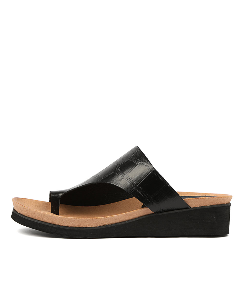 Buy Django & Juliette Lacount Black Tan Footb Flat Sandals online with free shipping