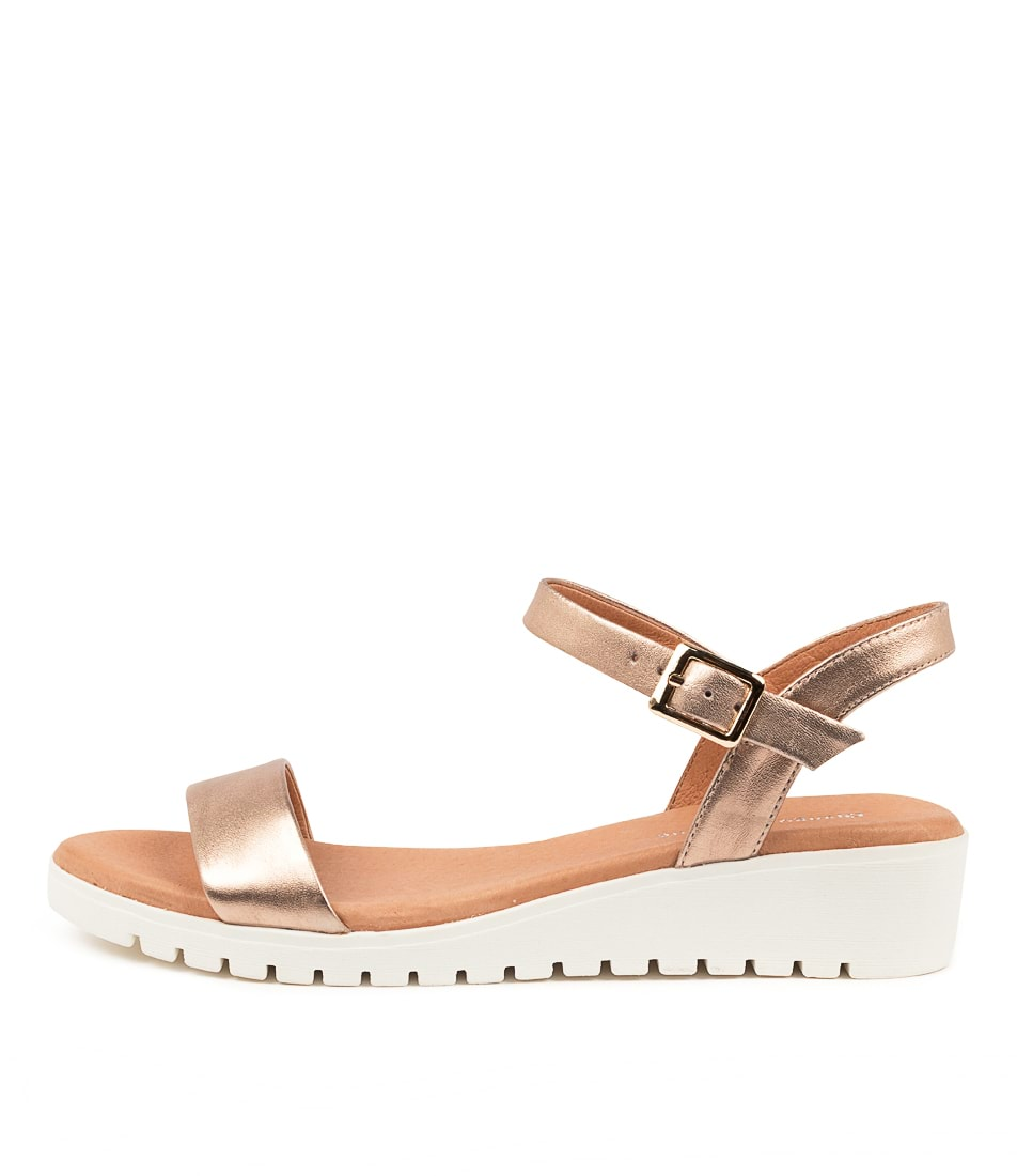 Buy Django & Juliette Marylee Rose Gold White Sole Flat Sandals online with free shipping