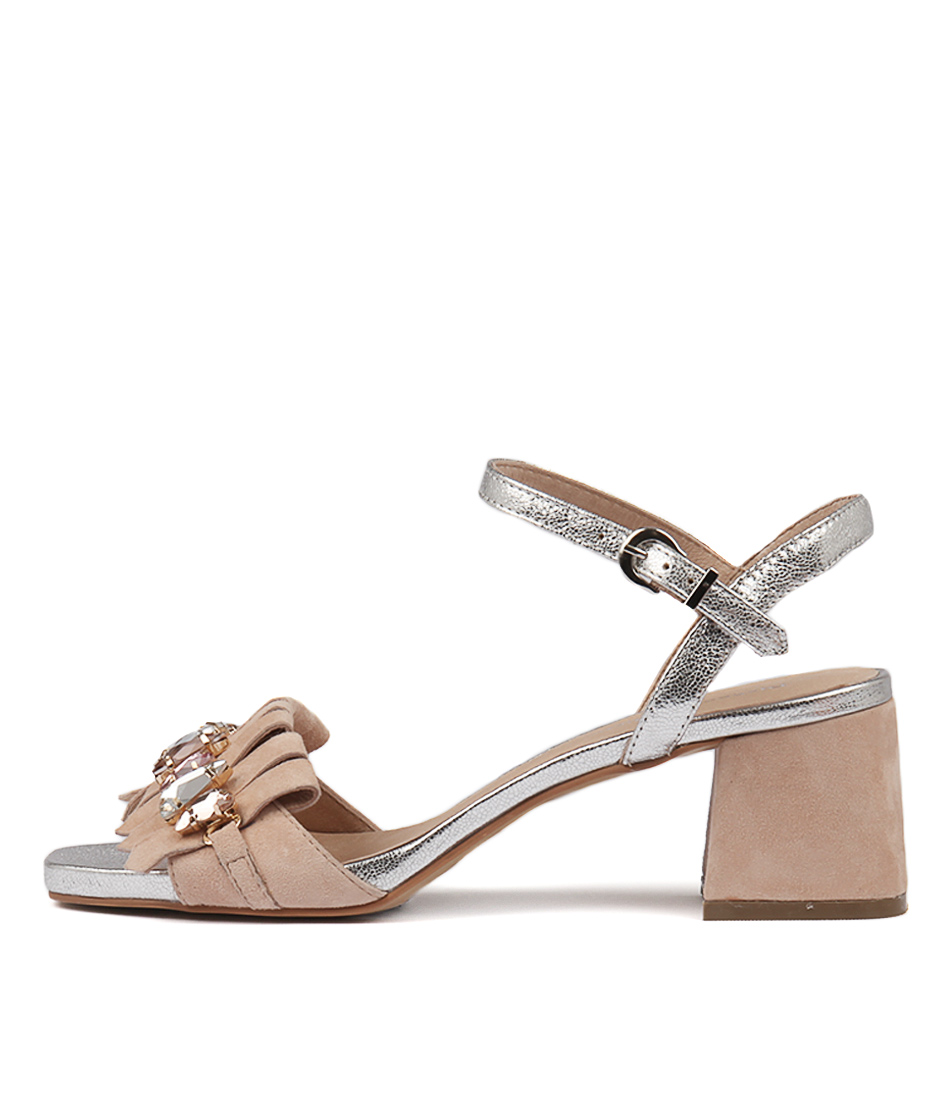 Buy Django & Juliette Maura Nude Silver Heeled Sandals online with free shipping