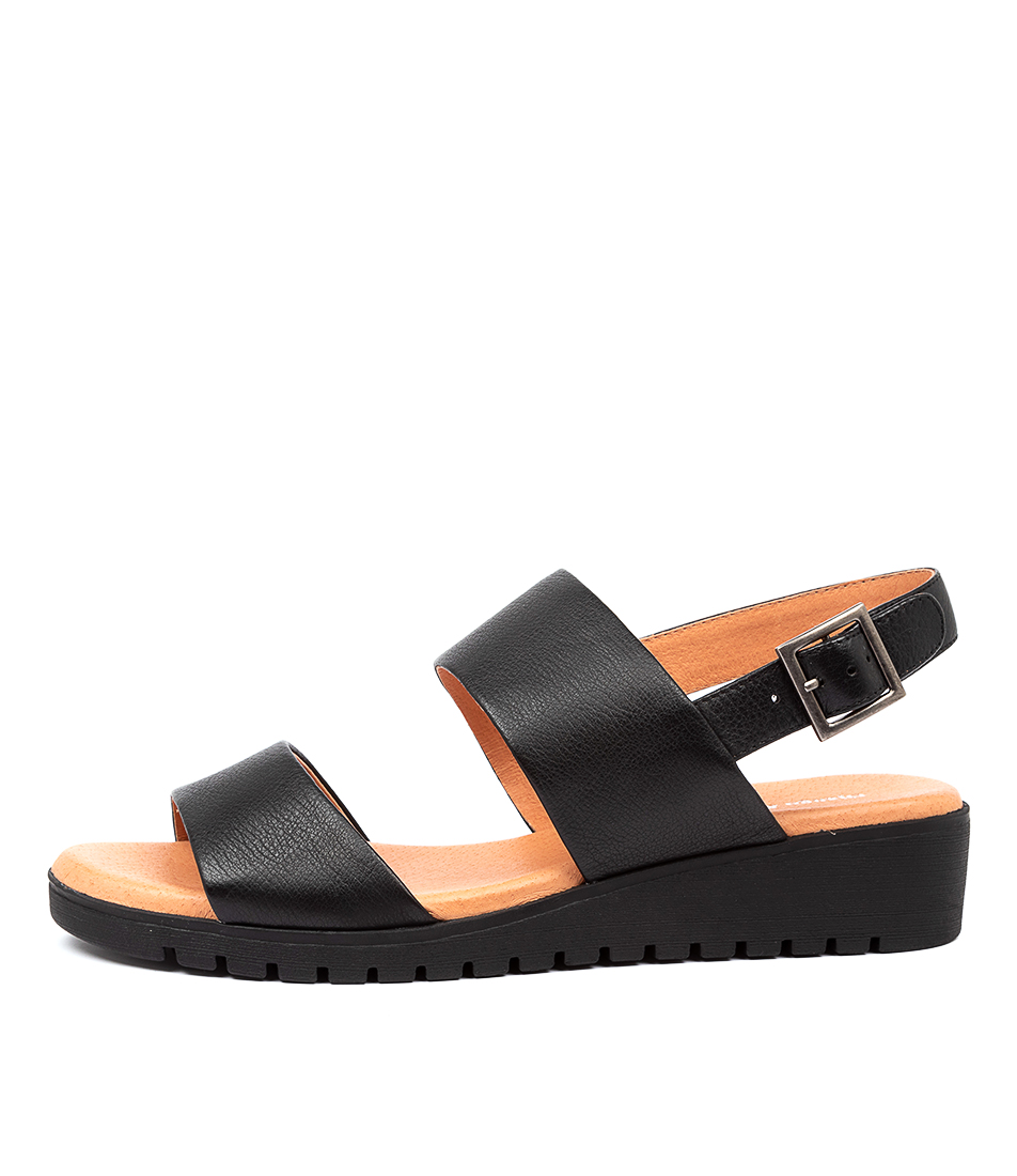 Buy Django & Juliette Maximo Black Sole Flat Sandals online with free shipping