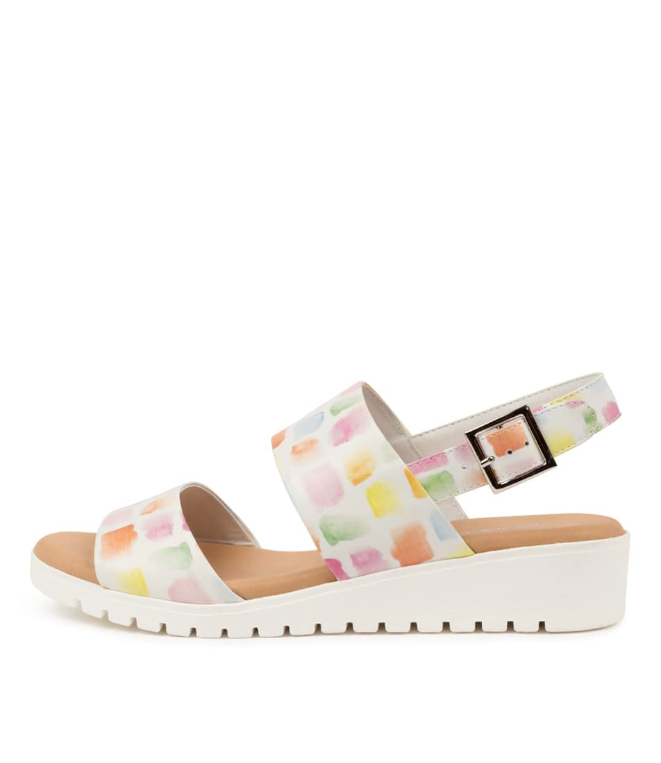 Buy Django & Juliette Maximo Paint Print Paint Sole Flat Sandals online with free shipping