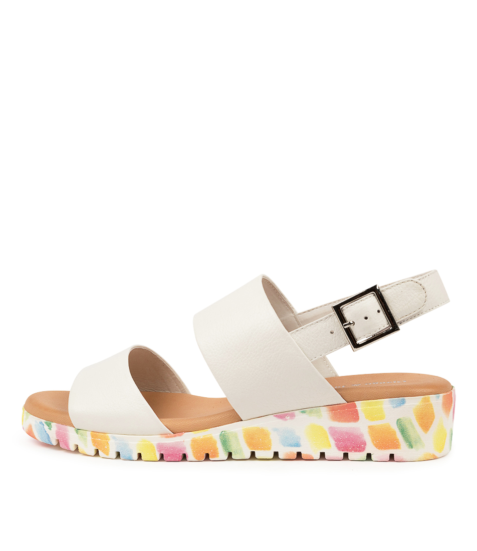 Buy Django & Juliette Maximo White Paint Sole Flat Sandals online with free shipping