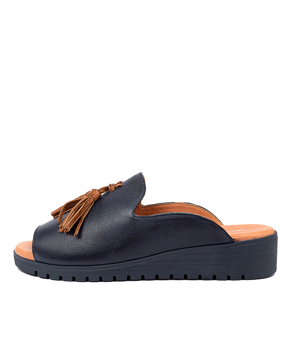 Buy Django & Juliette Mayson Navy Dk Tan Flat Sandals online with free shipping