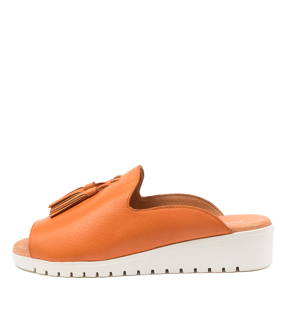 Buy Django & Juliette Mayson Bright Orange White Sole Flat Sandals online with free shipping