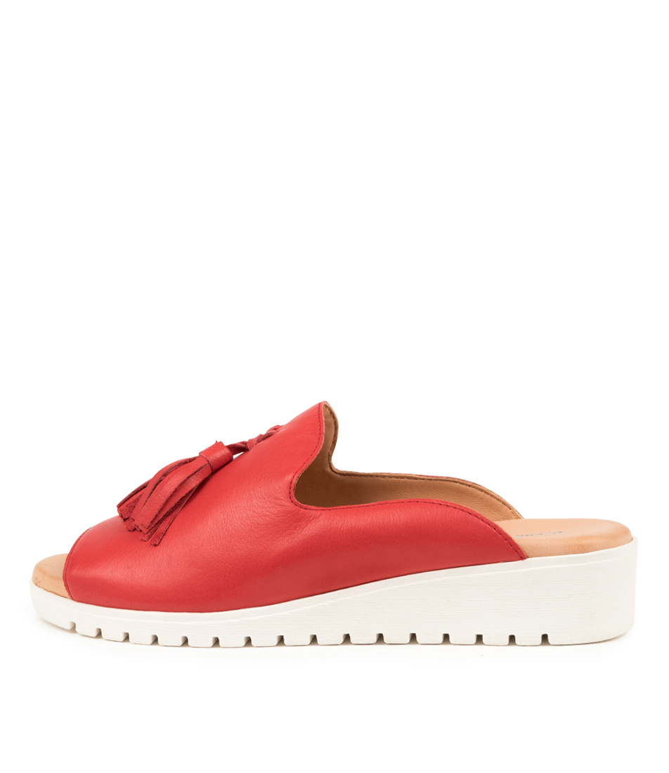 Buy Django & Juliette Mayson Red White Sole Flat Sandals online with free shipping