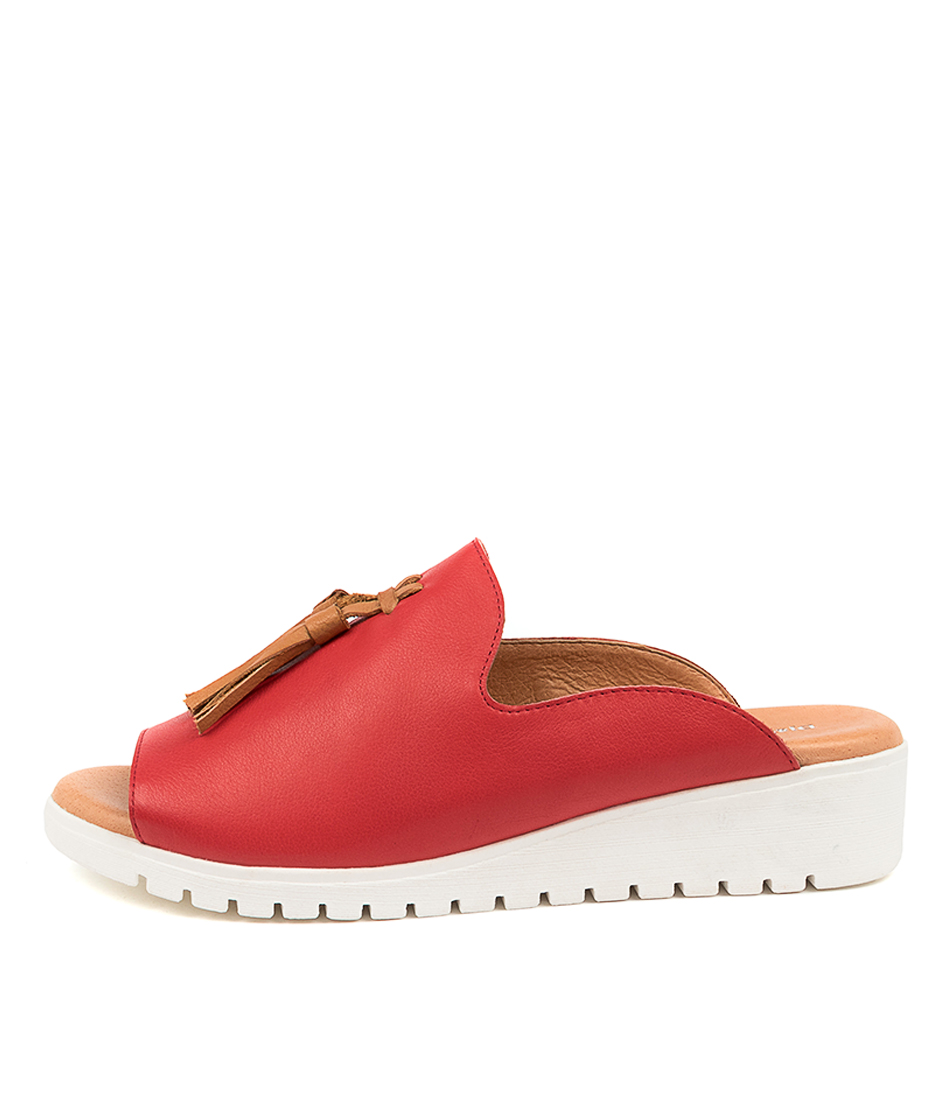 Buy Django & Juliette Mayson Red Dk Tan Flat Sandals online with free shipping