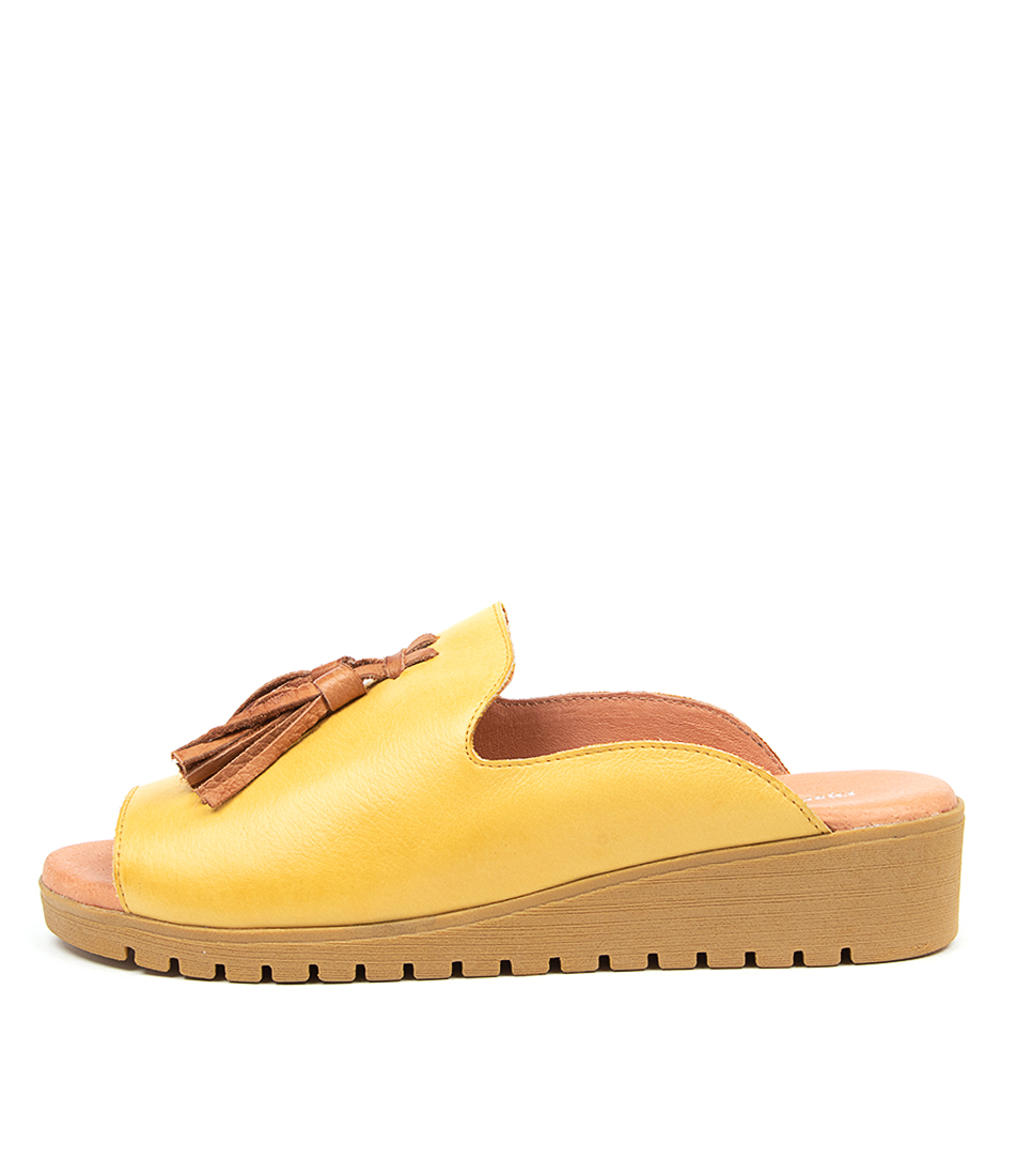 Buy Django & Juliette Mayson Lt Yellow Dk Tan Flat Sandals online with free shipping